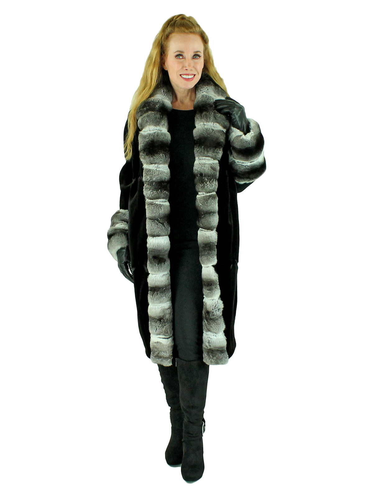 Woman's Black Sheared Mink Fur 7/8 Coat with Chinchilla Trim