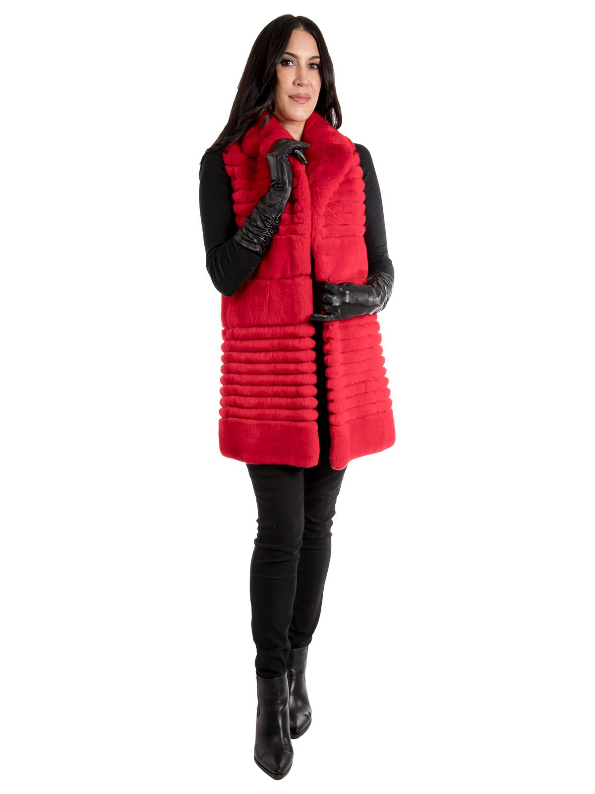 Women's Red Rex Rabbit Fur Vest