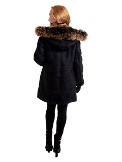 Woman's Navy Quilted Merino Shearling Jacket with Whiskey Leather Trim