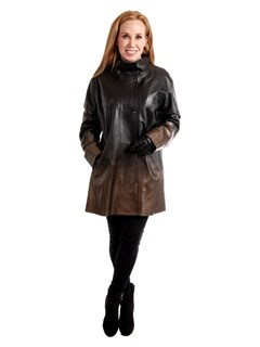 Woman's Bronze and Black Degradé Leather Jacket