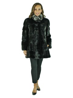 Woman's Black Sheared and Traditional Mink Fur Stroller with Chinchilla Collar