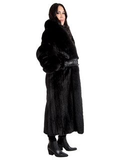 Women's Ranch Mink Fur Coat with Black Fox Tuxedo and Black Fox Spiral Sleeves