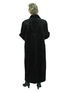Woman's Black Sheared Mink Fur Coat Reversible to Rain Fabric