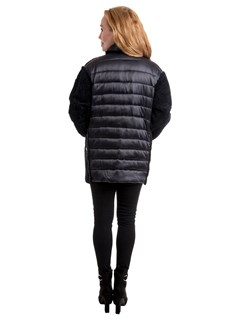 Woman's Navy Astragan Shearling Jacket with Quilted Fabric Cuffs, Pockets and Back