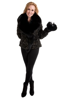 Woman's Black and Gold Leather Jacket with Black Fox Fur Collar and Cuffs