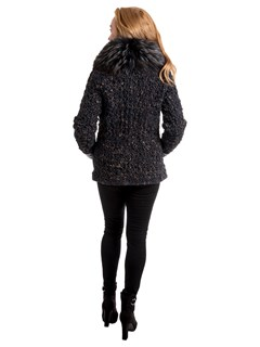 Woman's Navy Mist and Brown Knitted Lambskin Jacket with Dyed Fox Fur Collar and Cuffs