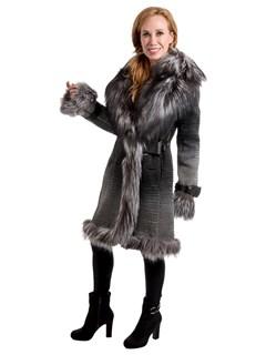 Woman's Silver Black Degradé Leather Stroller with Silver Fox Fur Trim