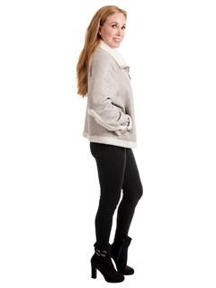 Woman's Pearl Astragan Shearling Jacket with Snow White Astragan Shearling Trim Reversible to Snow White Astragan Shearling