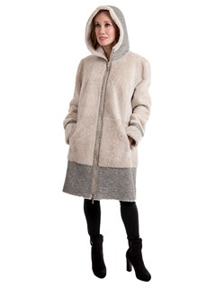 Women's Cream Linen and Gray Astragan Shearling Stroller with Hood; Reversible