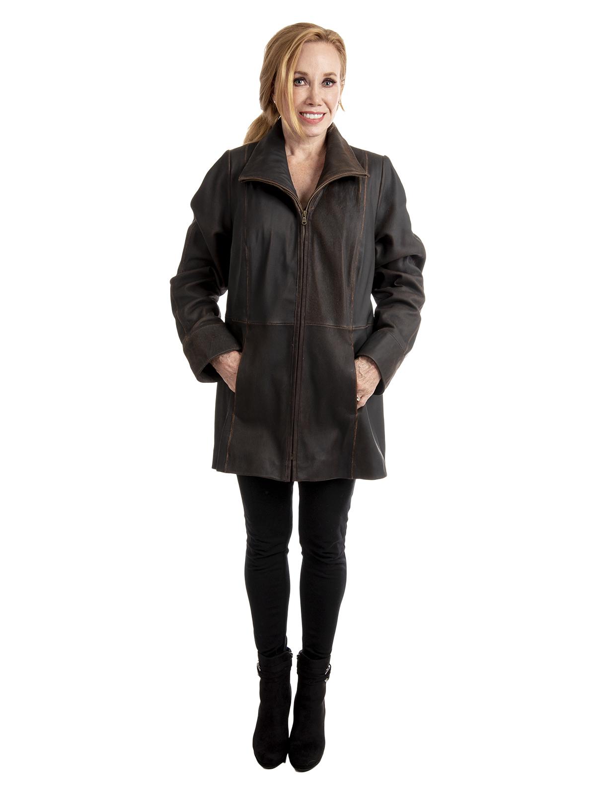 Woman's Cognac Leather Lambskin Zippered Jacket