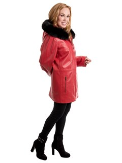 Woman's Red Lambskin Leather Parka with Black Fox Fur Trim on Hood and Detachable Red Jacket Liner