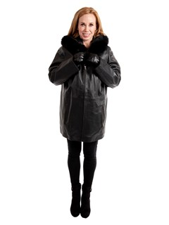 Woman's Black Lambskin Leather Parka with Fox Fur Trimmed Hood and Detachable Black Jacket Liner