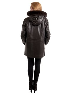 Woman's Brown Lambskin Leather Parka with Black Fox Fur Trimmed Hood and Detachable Black Jacket Liner