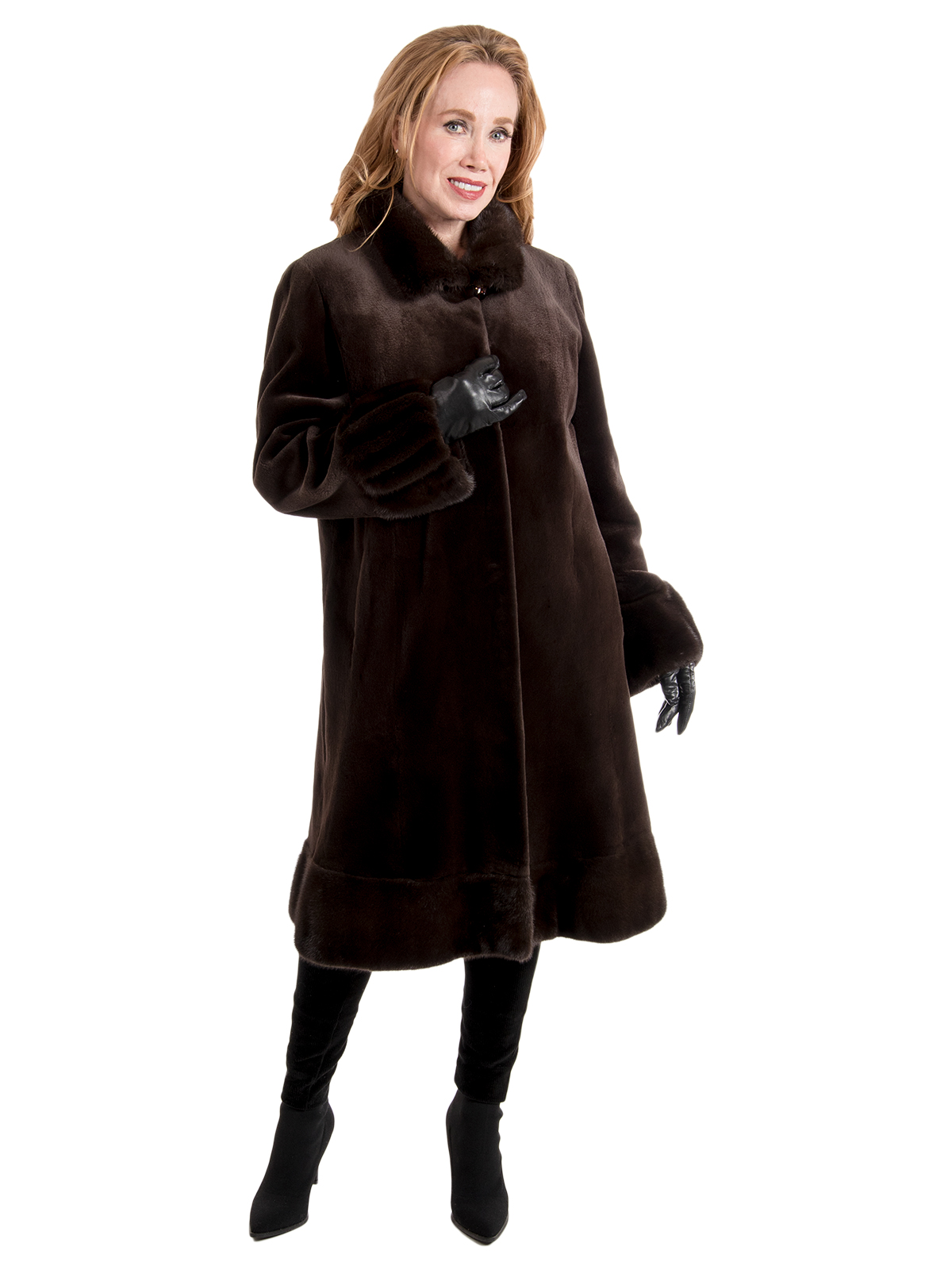Women's Brown Sheared Mink Fur Coat