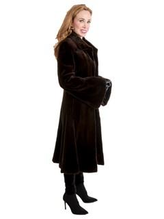Women's Brown Sheared Mink Fur Coat