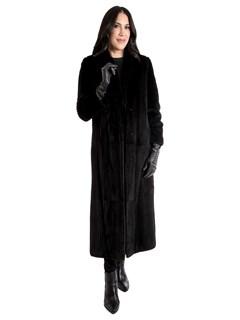 Women's Black Sheared Mink Fur Coat
