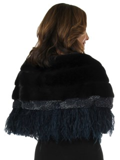 New Carolyn Rowan Woman's Navy Adler Mink Fur Cape