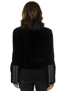 Woman's New Carolyn Rowan Navy Dylan Sheared Mink Fur Jacket