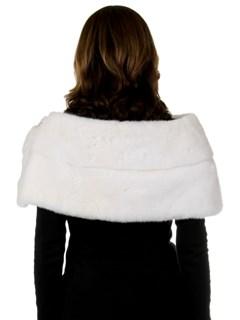 Woman's New Carolyn Rowan White Emilia Mink Fur Shrug