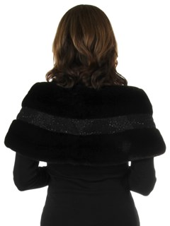 Woman's New Carolyn Rowan Black Robie Mink Fur Stole