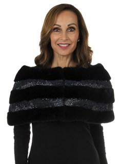 Woman's New Carolyn Rowan Pewter Robie Mink Fur Stole