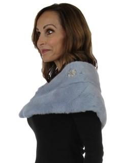 Woman's New Carolyn Rowan Periwinkle Robie Mink Fur Stole