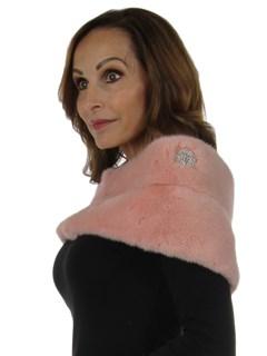 Woman's New Carolyn Rowan Lady Pink Mink Fur Stole