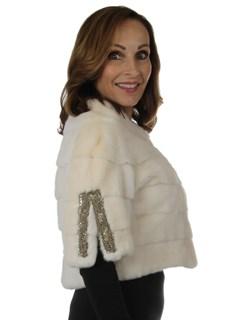 Woman's New Carolyn Rowan White Troy Oversize Mink Fur Bolero Jacket