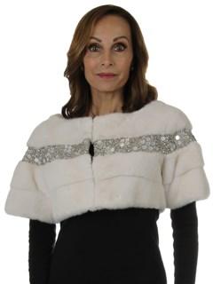 Woman's New Carolyn Rowan White Clarissa Mink Fur Bolero Jacket