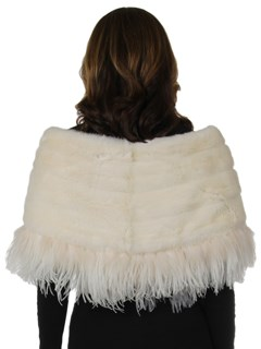 Woman's New Carolyn Rowan White Mink Fur Cape with Feathers