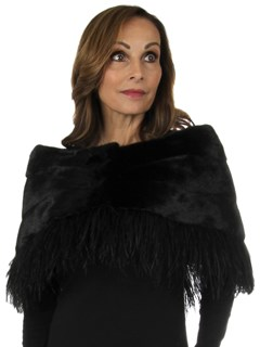 Woman's New Carolyn Rowan Black Mink Fur Cape with Feathers