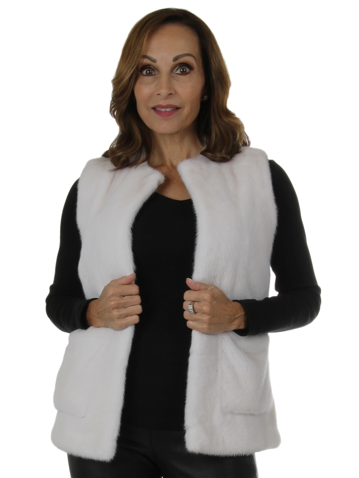 Woman's New Carolyn Rowan White Mink Fur Vest with Pockets