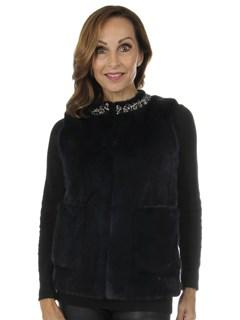 Woman's New Carolyn Rowan Navy Mink Fur Vest with Pockets
