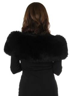 Woman's New Carolyn Rowan Black Sabrina Fox Fur Shoulder Stole