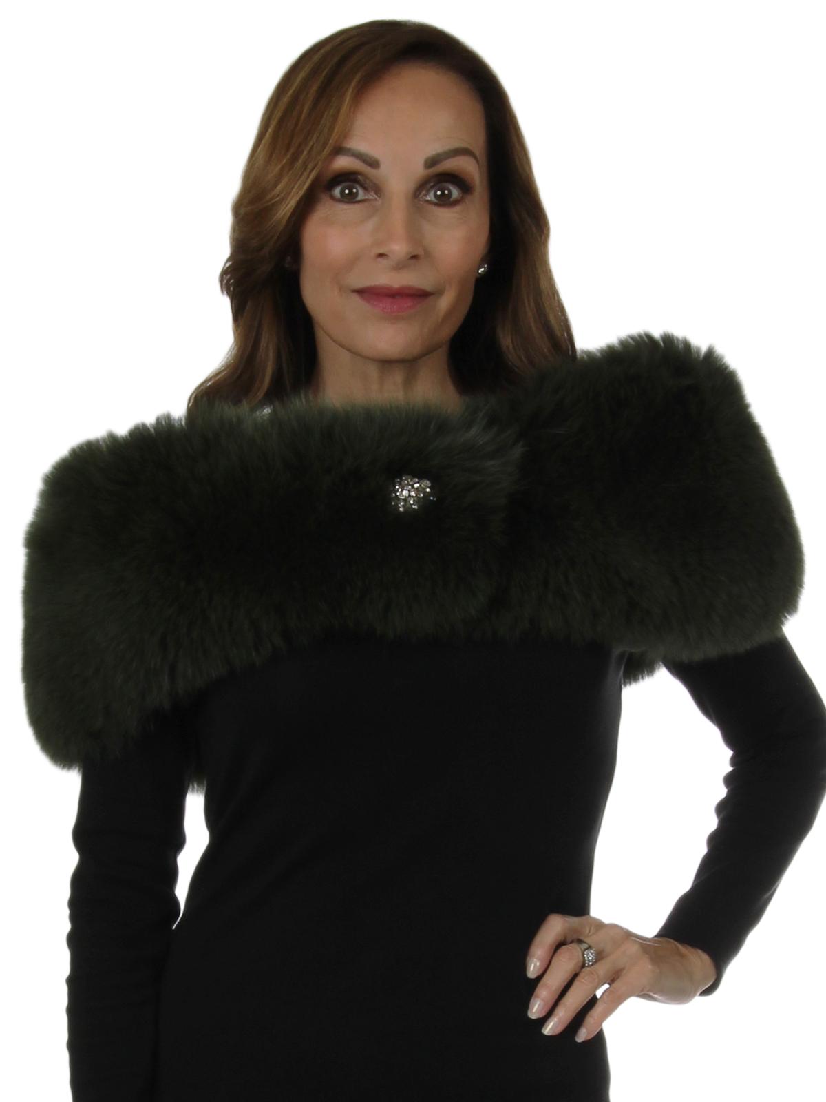 Woman's New Carolyn Rowan Green Fox Fur Shoulder Stole