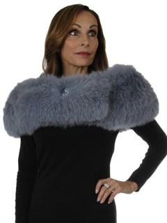 Woman's New Carolyn Rowan Powder Blue Sabrina Fox Fur Shoulder Stole