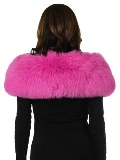Woman's New Carolyn Rowan Hot Pink Fox Fur Shoulder Stole