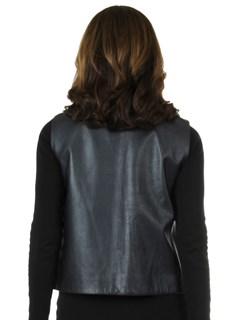Woman's New Carolyn Rowan Navy Lamb Leather Vest