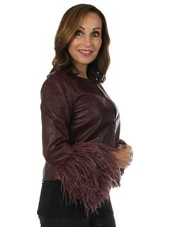 Woman's New Carolyn Rowan Burgundy Maxwell Lamb Leather Jacket