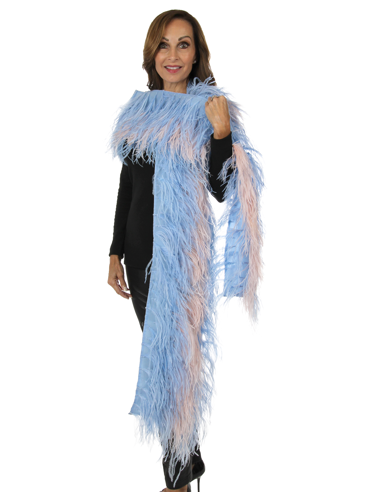 Woman's New Carolyn Rowan Light Blue and Blush Pink Silk and Ostrich Feather Shawl
