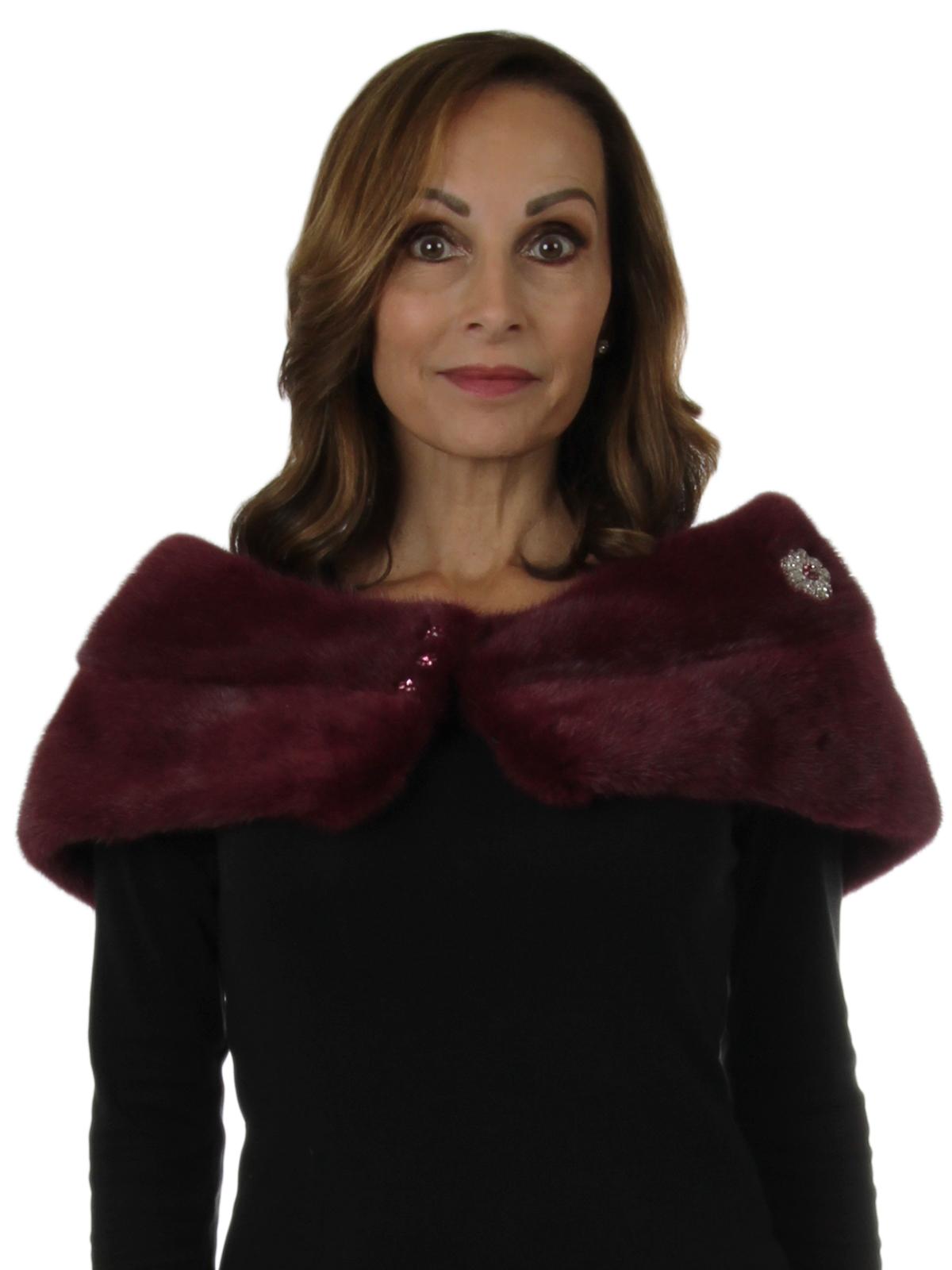 Woman's New Carolyn Rowan Raspberry Robie Mink Fur Stole