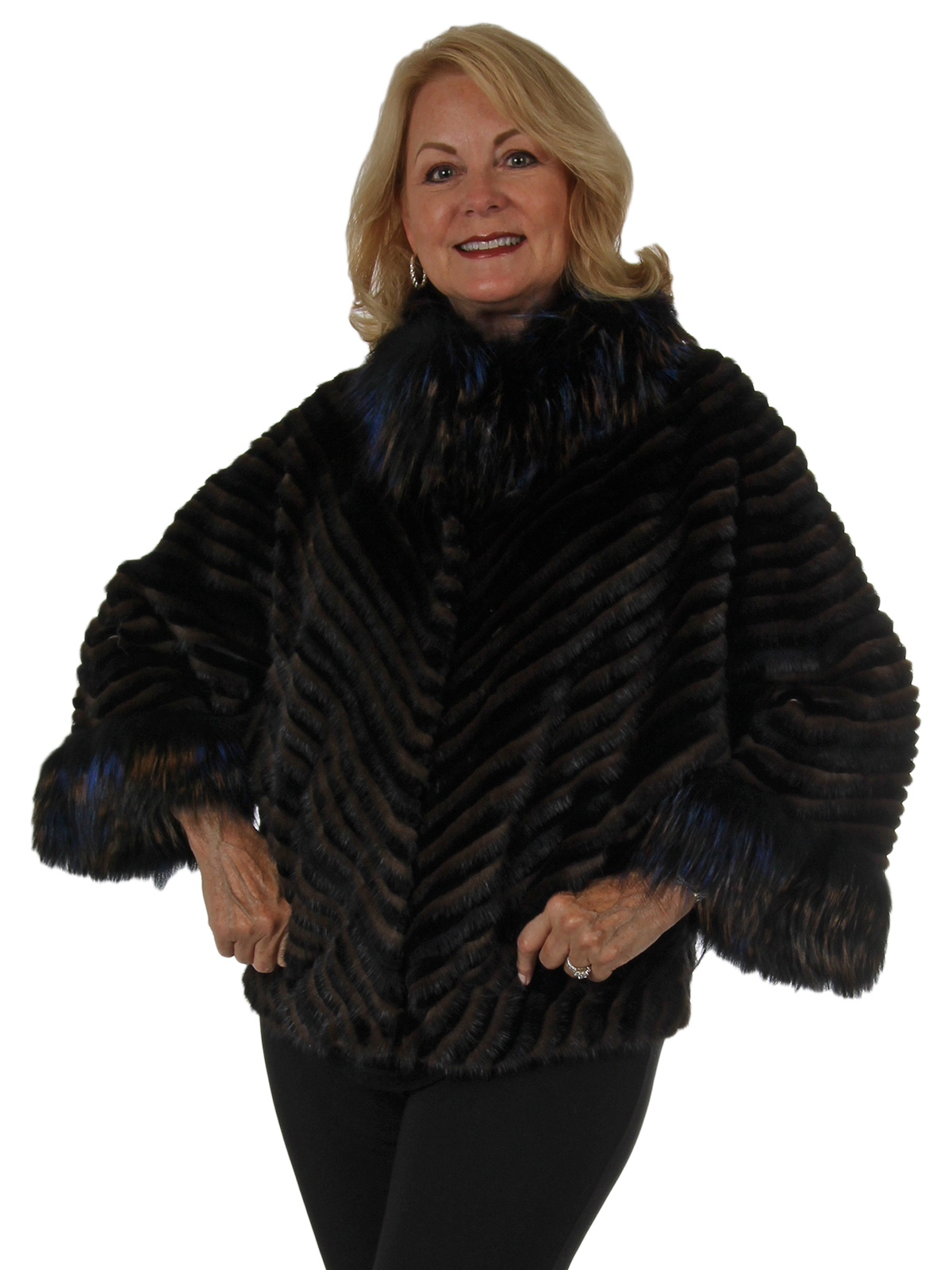 Woman's New Brown and Black Feathered Cross Mink and Rex Rabbit Fur Cape