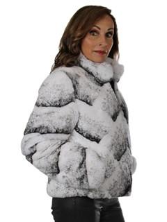 Woman's New Black and White Rex Rabbit Fur Jacket / Reversible