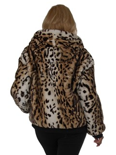 Woman's New Animal Print Rex Rabbit Fur Parka