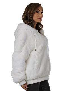 Woman's New White Rex Rabbit Fur Parka