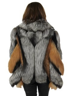 Woman's New Natural Red and Silver Fox Fur Jacket with Rex Rabbit Inserts