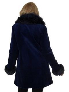 Woman's New Blue Sheared Mink Fur Stroller
