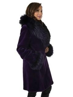 Woman's New Purple Sheared Mink Fur Stroller