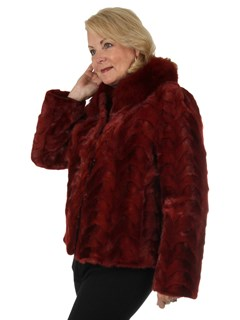 Woman's New Berry Red Sectioned Mink Fur Jacket