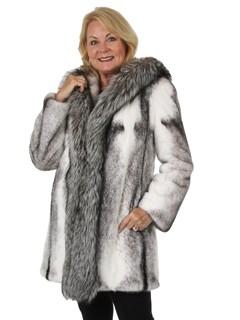 Woman's New Black Cross Mink Fur Stroller